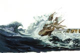 A Painting Depicts a Spanish Galleon Crashing Off Saipan Island Giclee Print by Robert Mcginnis