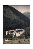 Forested Mountains Loom Above the Rila Monastery Photographic Print by Wilhelm Tobien