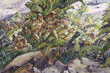 U.S. Soldiers Shoot Through the Cover of Banana Plants in the Jungle Giclee Print by Andre Durenceau