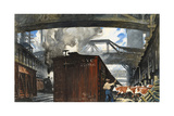 A Man Herds Cattle onto a Train Giclee Print by Thornton Oakley