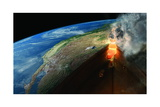 Fire and Debris Spew from Yellowstone in a Supervolcanic Eruption Giclee Print by Hernan Canellas
