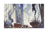 American Ships Moor by Grain Elevators That Store Grain for Troops Giclee Print by Thornton Oakley