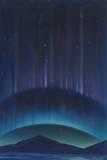 Two Rayed Arcs Form an Antarctic Aurora Below the Southern Cross Giclee Print by William H. Crowder