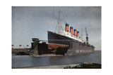"The Cunard S.S. ""Mauretania"" at Dock for Her Semiannual Hull Cleaning Photographic Print by Clifton R. Adams"