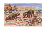 Ancient Protoceratops Were Egg-Laying Dinosaurs Giclee Print by Charles R. Knight