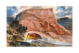 A Super Chief Train Speeds Through a Canyon on the Navajo Reservation Giclee Print by Thornton Oakley
