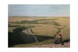A Woman Looks Down over the Cuckmore River Photographic Print by Clifton R. Adams