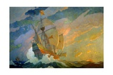 N.C. Wyeth Painting, the Caravels of Columbus Giclée-tryk af Newell Convers Wyeth