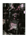A Worker Grinds Red Pigment for Enamels at a Paint Factory Photographic Print by Jacob J. Gayer