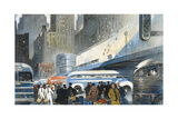 Travelers Walk Past Crowded Bus Terminal Giclee Print by Thornton Oakley