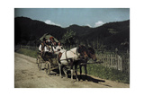 People Ride in a Cart Pulled by Two Horses Photographic Print by Hans Hildenbrand