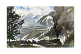 Freight Train Pulls Tanks and Materiel across the Continental Divide Giclee Print by Thornton Oakley