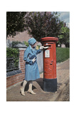 A Young Woman Mails a Letter at the Pillar Box Photographic Print by Clifton R. Adams
