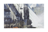 The Coulee Dam Produces Energy to Fuel Factories Giclee Print by Thornton Oakley