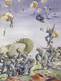 U.S. Paratroopers and their Color Coded Supplies Land in a Field Giclee Print by Andre Durenceau