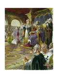 Empress Theodora Exhorts Her Husband to Fight Mobs of Citizens Giclee Print by Andre Durenceau