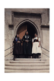 Three Generations of Women Stand on the Stairs That Lead to a Church Photographic Print by Hans Hildenbrand