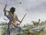 Ice Age Hunter Uses a Bola and a Wooden Spear to Hunt Llama-Like Prey Giclee Print by Gregory A. Harlin