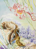 A Painting of an Australian Barrier Reef Sea Life Scene Giclee Print by Else Bostelmann