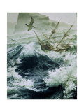 Painting of Storm-Tossed Golden Hind Ship in the Pacific Ocean Giclee Print by Jean-Leon Huens