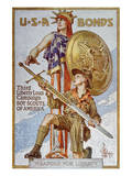 World War I American War Bonds Campaign Poster Poster by Joseph Christian Leyendecker