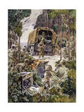 Soldiers in the Field Communicate with Radios, Lights and Flags Giclee Print by Andre Durenceau