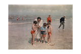 A Lady Examines a Girl's Net While the Other Kids Look at their Own Photographic Print by W. Robert Moore