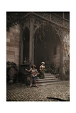 Two People Stand on One of the Staircases to the Nuremberg Castle Photographic Print by Hans Hildenbrand