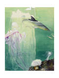 A Painting of Alaskan Undersea Wildlife and Icebergs Giclee Print by Else Bostelmann