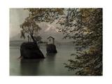 Two Islands in Lake Lucerne with Mount Pilatus in the Background Fotografisk tryk af Hans Hildenbrand