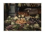 A Food Vendor's Fruit and Vegetable Stand at a Market Fotografisk tryk af Gervais Courtellemont