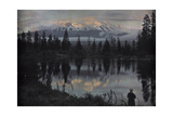 A Woman Stands at the Edge of a Pond Observing the View Photographic Print by Franklin Price Knott