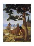 Ojibwa Indians, Commonly Called Chippewa, Fashion a Birch Bark Canoe Giclée-tryk af W. Langdon Kihn