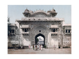 Pedestrians Exit Through One of the Stuccoed Towered Gates of Jaipur Photographic Print by Else Bostelmann