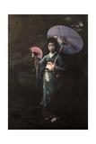 A Geisha Girl Poses in Her Kimono Fotografisk tryk af Franklin Price Knott