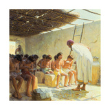In an Ancient Mesopotamian School, Boys Write on Clay Tablets Giclee Print by Tom Lovell