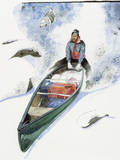 Keith Nyitray Rides His Canoe Down a Snowy Pass to the Noatak River Giclee Print by Jack Unruh