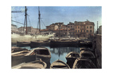 A View of Empty Rowboats in the Harbor Photographic Print by Hans Hildenbrand