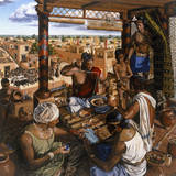 While a Local Merchant Weighs Beads, Traders Wait to Sell their Goods Giclee Print by Christopher Klein