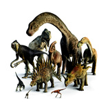 A Composite of Dinosaurs That Lived in the Northern Hemisphere Giclée-tryk af Pixeldust Studios