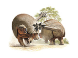 Giant Glyptodonts Fight Using their Spiked Tails Giclee Print by Raul D. Martin