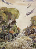 Supported by Planes, Tanks Speed into Battle Giclee Print by Andre Durenceau