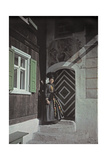 A Woman in Austrian Dress Standing in a Doorway Photographic Print by Hans Hildenbrand
