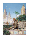 Painting of Rhesus Monkeys in an Indian Cityscape Giclee Print by Elie Cheverlange