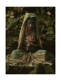 Woman Adorned Like a Chinese Goddess Poses in a Garden Photographic Print by Franklin Price Knott