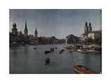 Boats Drive around the Limmat River in Zurich Photographic Print by Hans Hildenbrand