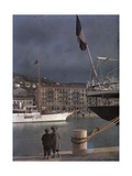 Two Boys Watch the Boats in the Port at Nice Fotografisk tryk af Gervais Courtellemont