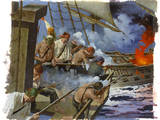 A Painting Depicts Gunmen on the British Warship, Centurion Giclee Print by Robert Mcginnis