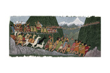 A Victorious Inca Emperor and His Army March Home to Cuzco Giclée-tryk af Ned M. Seidler