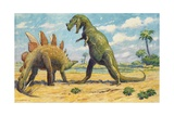 The Stegosaurus Has Armor to Protect it from the Ceratosaurus Giclée-tryk af Charles R. Knight